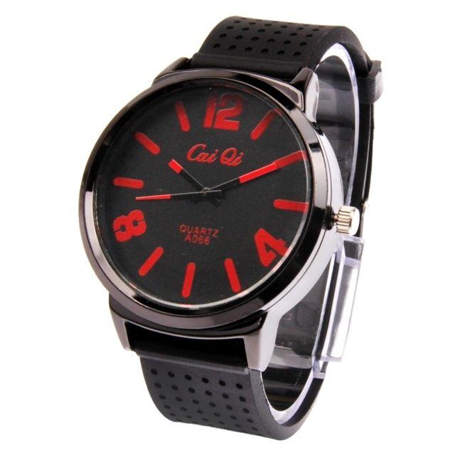 Wewoo - Montre Silicone noir + rouge Montre-bracelet à quartz rond style  classique avec bande de Achat   Vente Montre N A pas chère - RueDuCommerce 13092e88f70