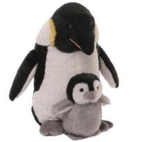 Gund - Peluche Petit et Maman Pingouin 25 cm