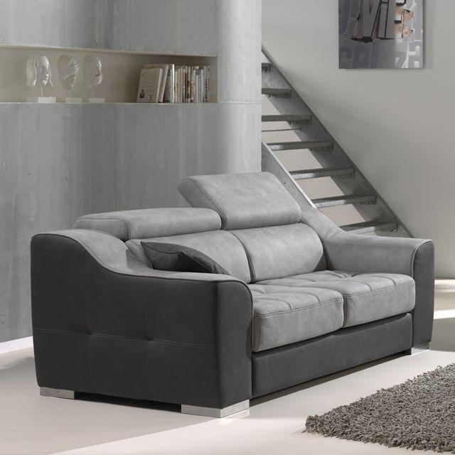 Kasalinea Canapé 2 places gris en tissu Arnold - Sans relax électrique
