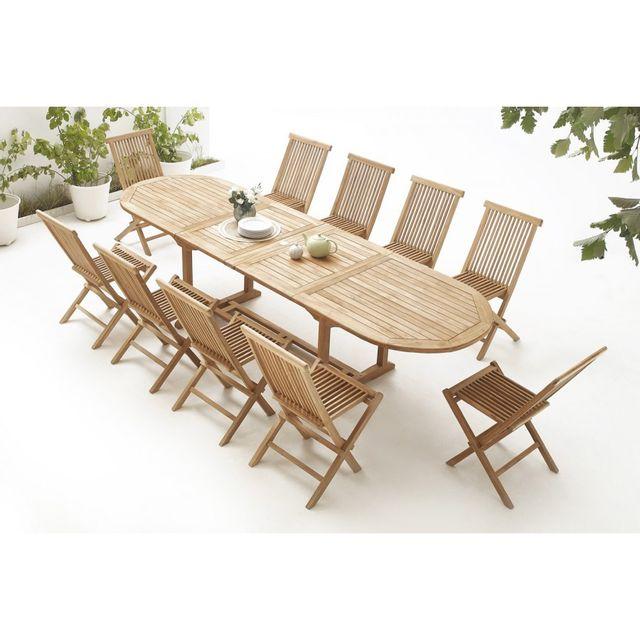 Bobochic Table Ovale 10 chaises Teck Brut Massif