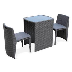 Alice 39 s garden doppio gris salon de jardin en r sine for Ensemble table et chaise encastrable