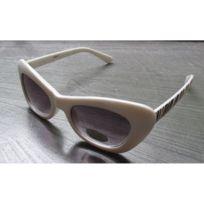 0ba0e383dc Universel - Lunette de soleil femme petit cat eye blanc zebre pin up