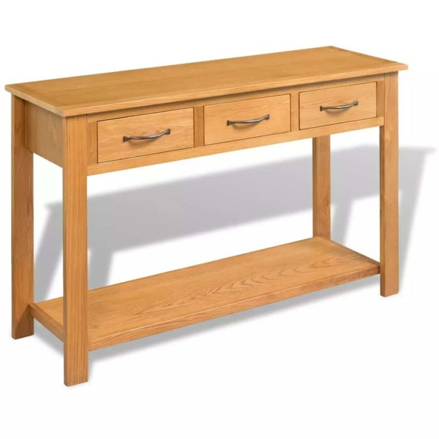 Admirable Consoles selection N'Djaména Grande table console Chêne massif 118 x 35 x 77 cm