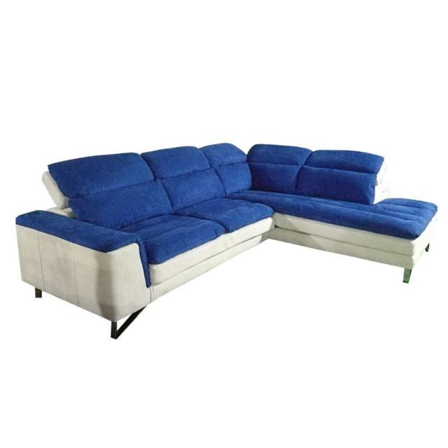 Inside 75 Canapé d'angle droite fixe Roma bicolore nabucka blanc et bleu