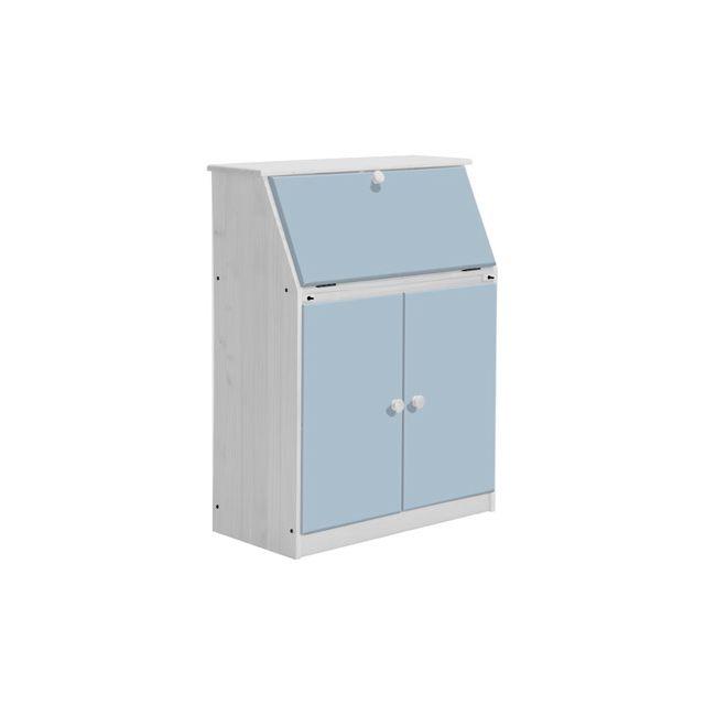Bureau gain de place Hobby coloris blanc et bleu clair