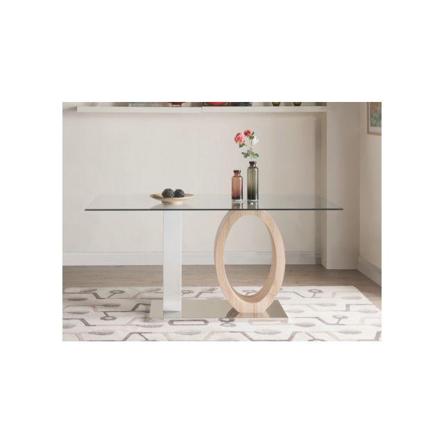 Table à manger AYANE - 6 couverts - Verre trempé et MDF - Chêne & Blanc