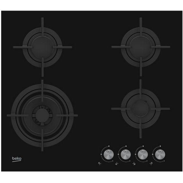 Beko table verre gaz 60cm 4 foyers noir - hilw64222s