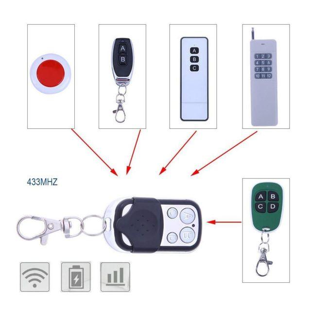 Télécommande Universelle COPIEUSE 433,92 MHZ clé Porte de Garage Portail Alarme