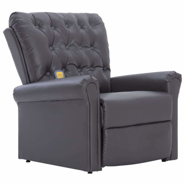 Helloshop26 Fauteuil inclinable électrique de massage confort relaxant massant détente gris similicuir 1702059