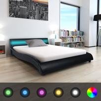 Vidaxl - Cadre de lit avec Led 140 x 200 cm Cuir artificiel Noir