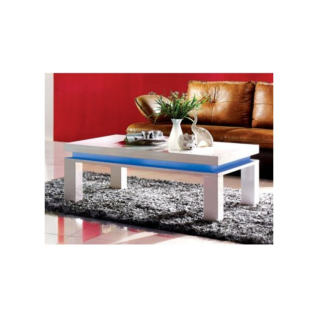 Vente-unique Table basse Emerson - Mdf laqué blanc - Leds