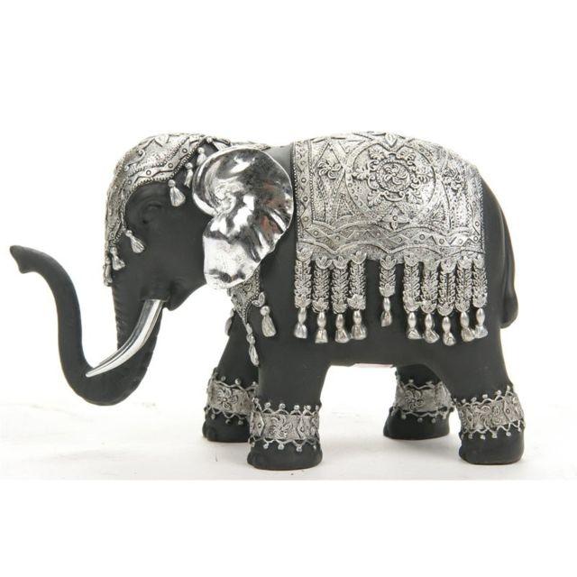 Statuette eléphant - Noir et argent - Objet de décoration d'intérieur