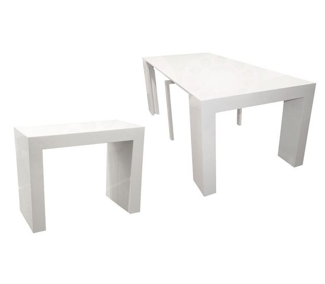 open en ville table console extensible blanc laqu l de 45 198 x - Table Console Extensible Blanc Laque