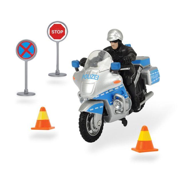 Dickie 203342001 Toys - Police Bike Set Moto de Police avec des panneaux de signalisation, 10 cm