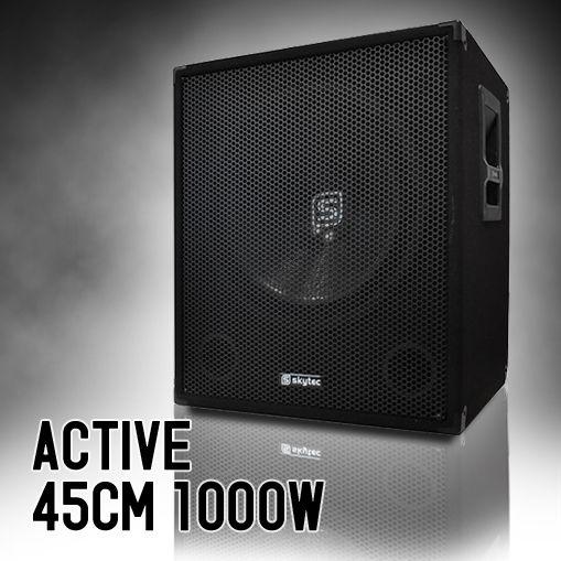 SKYTEC Subwoofer 46cm actif caisson de basses disco 1000W