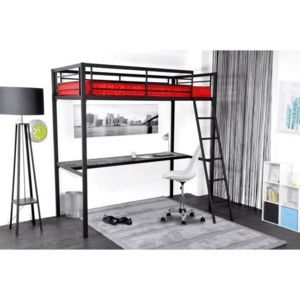 aucune grafik lit mezzanine adulte avec sommier bureau style industriel en m tal laqu. Black Bedroom Furniture Sets. Home Design Ideas