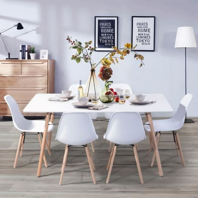 TABLE A MANGER AVEC CHAISES LONDON ensemble table a manger de 6 a 8 personnes L160x I90 cm + 6 chaises blanc L 46 x P 44