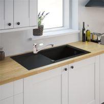 GÉNÉRIQUE   Evier De Cuisine 1 Cuve Xl Reversible à Encastrer Minéral  Composite Noir Et Robinet