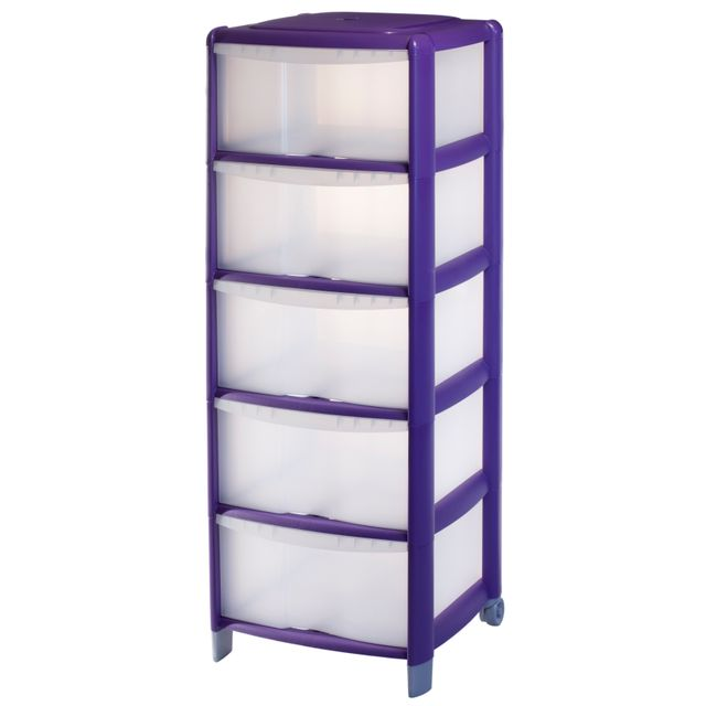 carrefour tour de rangement 5 tiroirs 100l violette 9022304ac2car pas cher achat. Black Bedroom Furniture Sets. Home Design Ideas
