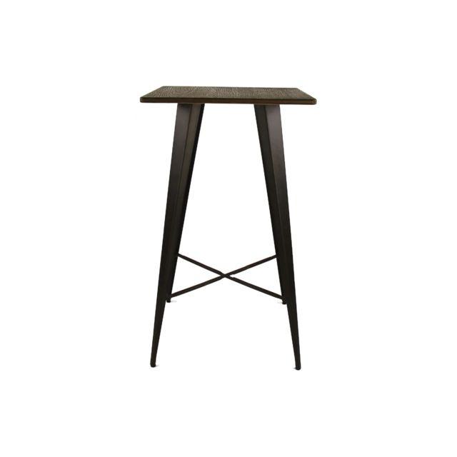 HELLIN Table bar carré en bois et métal - LITO
