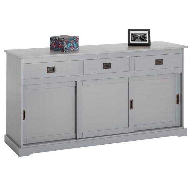 idimex buffet savona bahut vaisselier commode avec 3 tiroirs et 3 portes coulissantes en pin. Black Bedroom Furniture Sets. Home Design Ideas