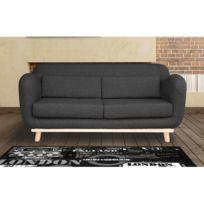 Autre - Canapé 3 places fixes pieds bois en tissu - coloris anthracite noir