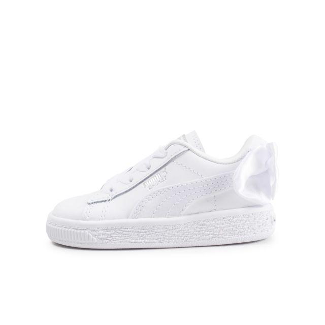 Bow Pas Basket Chaussures Blanche Bébé Cher Achat Puma Vente H29DWIE