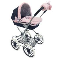 Decuevastoys - Landau de poupée poignée haute couverture reversible grande roues