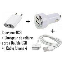Cabling - Set 3 en 1 pour iPhone 4, 4s, 3 - 1 x pour iphone 4 + 1 x chargeur voiture allume cigare double Usb + 1 x chargeur secteur Usb en Blanc