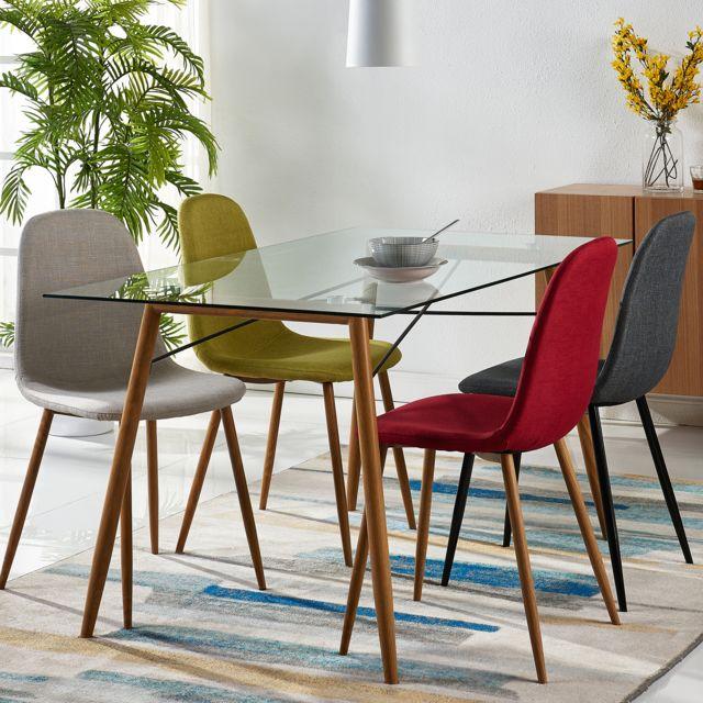 VERSANORA Table en verre pieds en métal salle à manger cuisine salon Minimalista VNF-00026