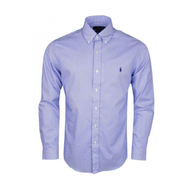 32b2f944b5b Ralph Lauren - Chemise rayée Ralph Lauren bleu et blanche slim fit pour  homme