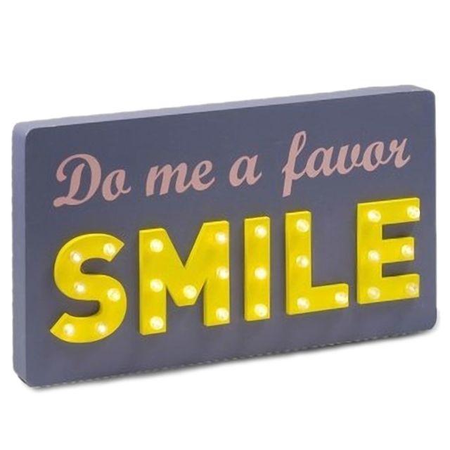 Signee Pancarte à Led en bois - Do Me A Favor Smile