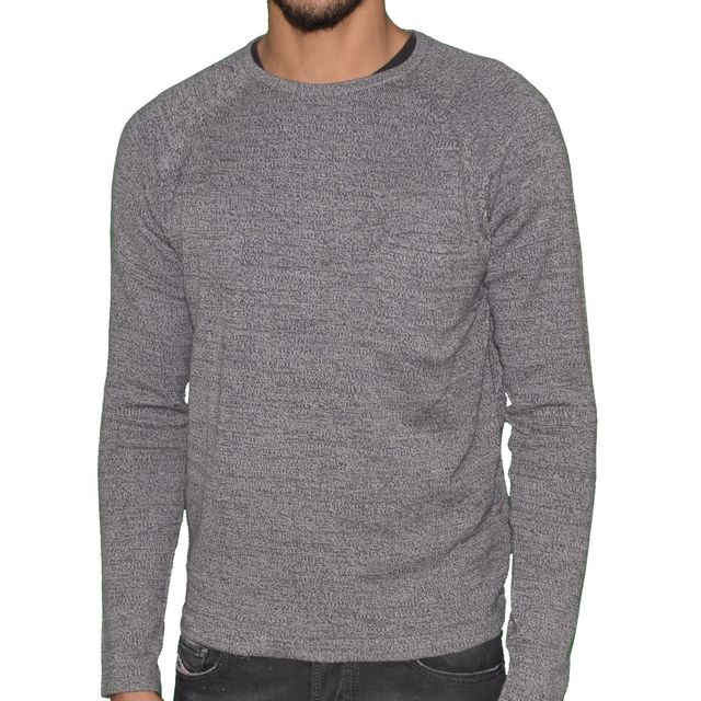 a353671d70a Crossby - Pull Fin - Col Rond - Homme - Dig - Gris Clair Chiné - pas ...