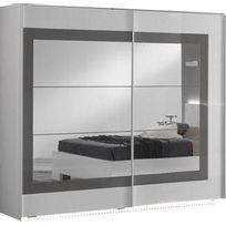 Armoire 240x210 cm à 2 portes-miroirs coulissantes coloris blanc et gris  laqué ancono