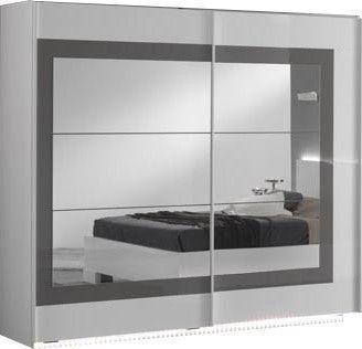 Comforium Armoire 240x210 cm à 2 portes-miroirs coulissantes coloris blanc et gris laqué