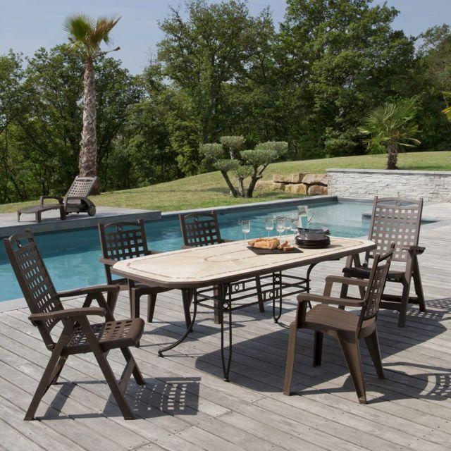 grosfillex salon de jardin de repas amalfi bora 2 design pas cher achat vente fauteuil de. Black Bedroom Furniture Sets. Home Design Ideas