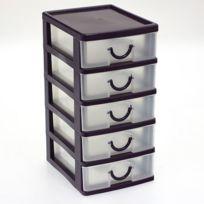 Touslescadeaux - Bloc Coffret Tour - Boite de rangement 5 tiroirs plastique - violet
