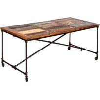 COMFORIUM - Table de salle à manger 180 cm en bois massif style industriel avec roulettes