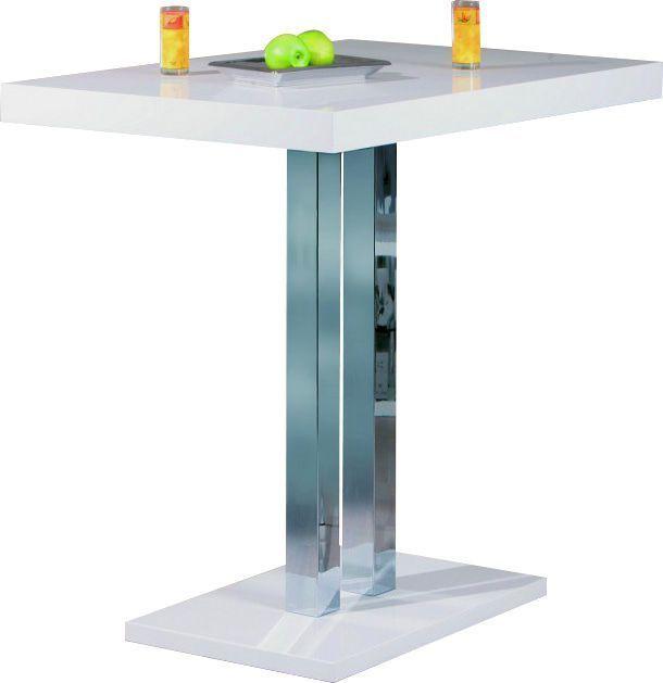 Comforium Table de bar design blanc laqué et métal