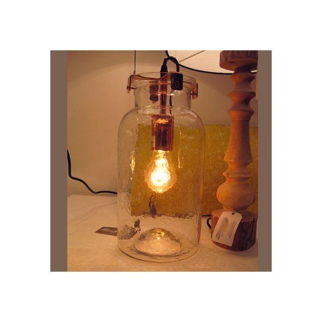 millumine lampe de salon poser en bocal verre confiture cuivr 0cm x 0cm x 38cm pas cher. Black Bedroom Furniture Sets. Home Design Ideas