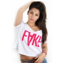 Fake - paris - Croptop t-shirt logo Xl pink