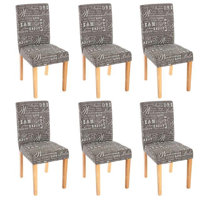 de words Lot Littautissu clairs chaises séjour gris fabricpieds de 6 mONvn80w