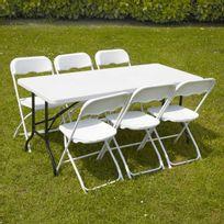 Mobeventpro - Table et chaises pliantes 162cm 6 places Pehd