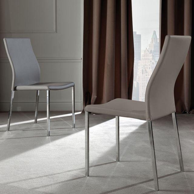 Nouvomeuble Chaise taupe design Sonia lot de 4