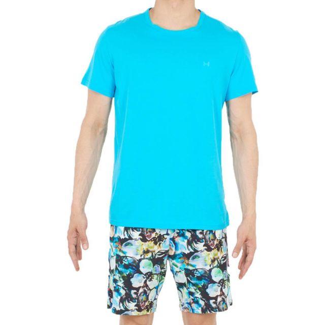 66029fb0e7e Hom - Pyjama court Sumptuous en coton   tee-shirt col rond bleu turquoise  et short à imprimé floral aquarelle - pas cher Achat   Vente Pyjamas - ...