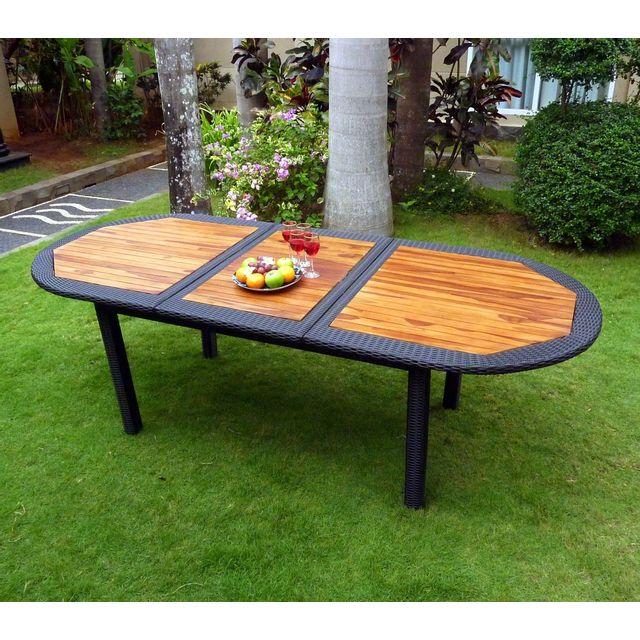 Wood En Stock - Table de jardin en teck et résine tressée - rallonge ...