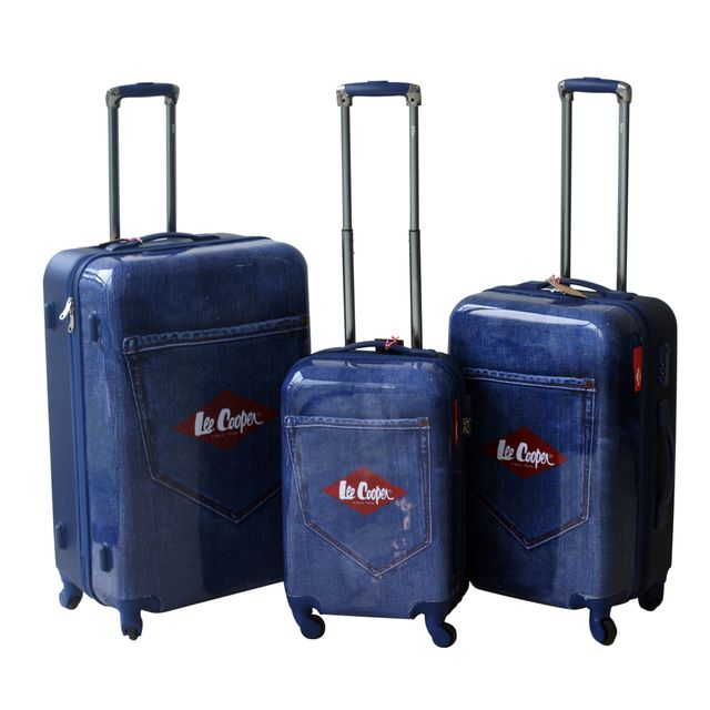 LEE COOPER - Set de 3 valises rigides DENIM - ABS et polycarbonate - Bleu 180