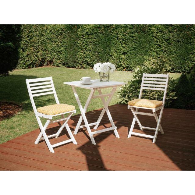 Table et chaises de jardin blanche avec coussin avec motif jaune FIJI