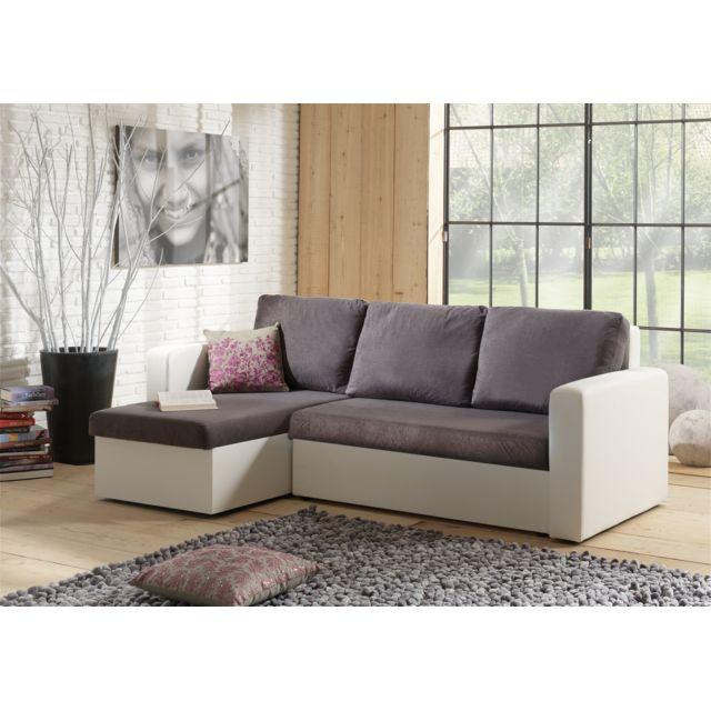 2041dfba9485b5 Modern Sofa - Canapé d angle Convertible avec coffre gris foncé-blanc  Venus. Description  Fiche technique