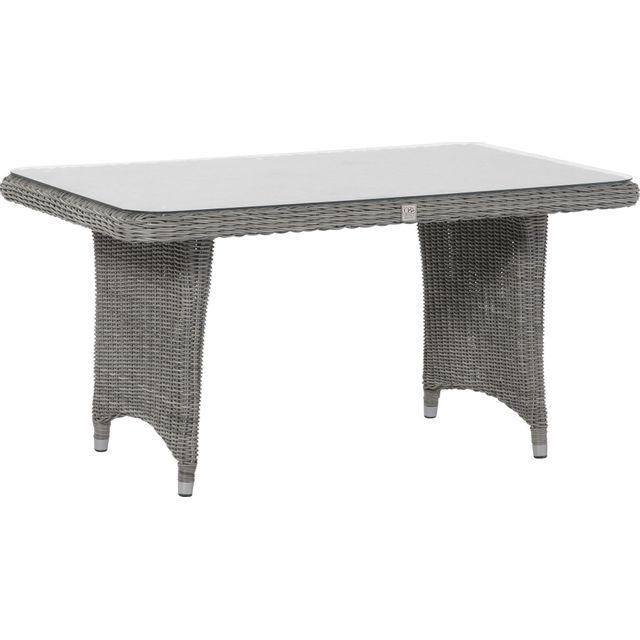 Comforium Table à manger de jardin 140x70 cm en résine tressée coloris rock + vitre incluse